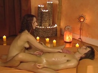She Relaxes His Dick With Massage