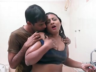 Hot Indian Middle Aged Bhabhi Romance in Bathroom