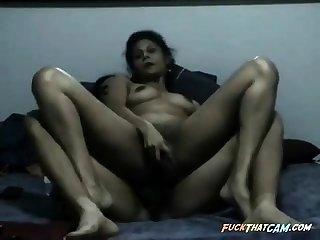 Hardcore Indian MILF double pussy penetration