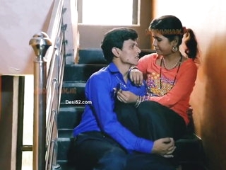 Indian bhabhi with her husband on the stairs