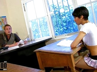 Arab babe in school uniform fucked by her teacher