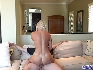 Hot blonde mom gets big cock and cum covered face