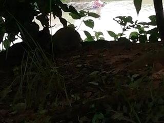 Desi bathing out door in river